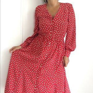 VINTAGE 70S LIPSTICK RED POLKA DOT BOHEMIAN DRESS